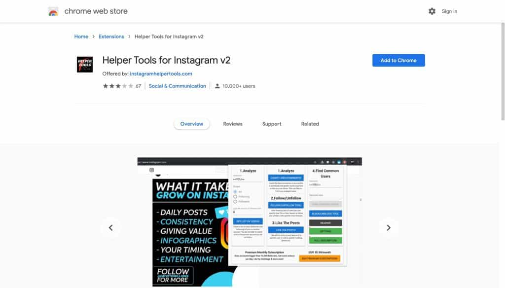 A screenshot of Helper Tools Chrome Extension page