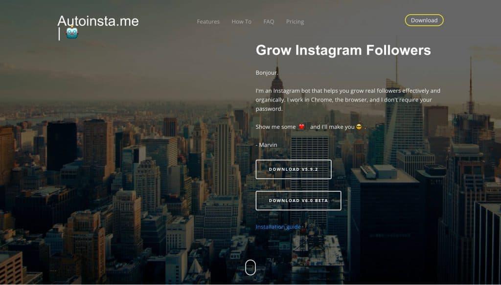 A screenshot taken from Autoinsta.me's website