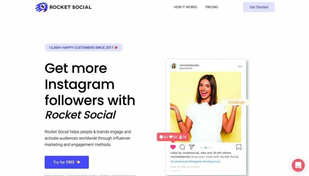 A screenshot of Rocket Social's website