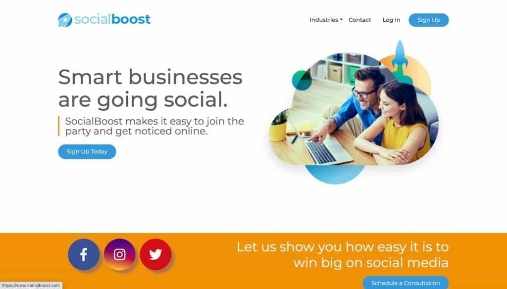 A screenshot taken from Social Boost's website