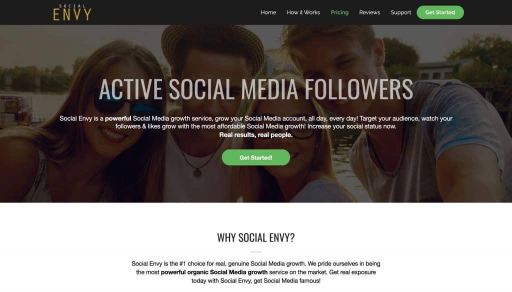A screenshot of Social Envy's website