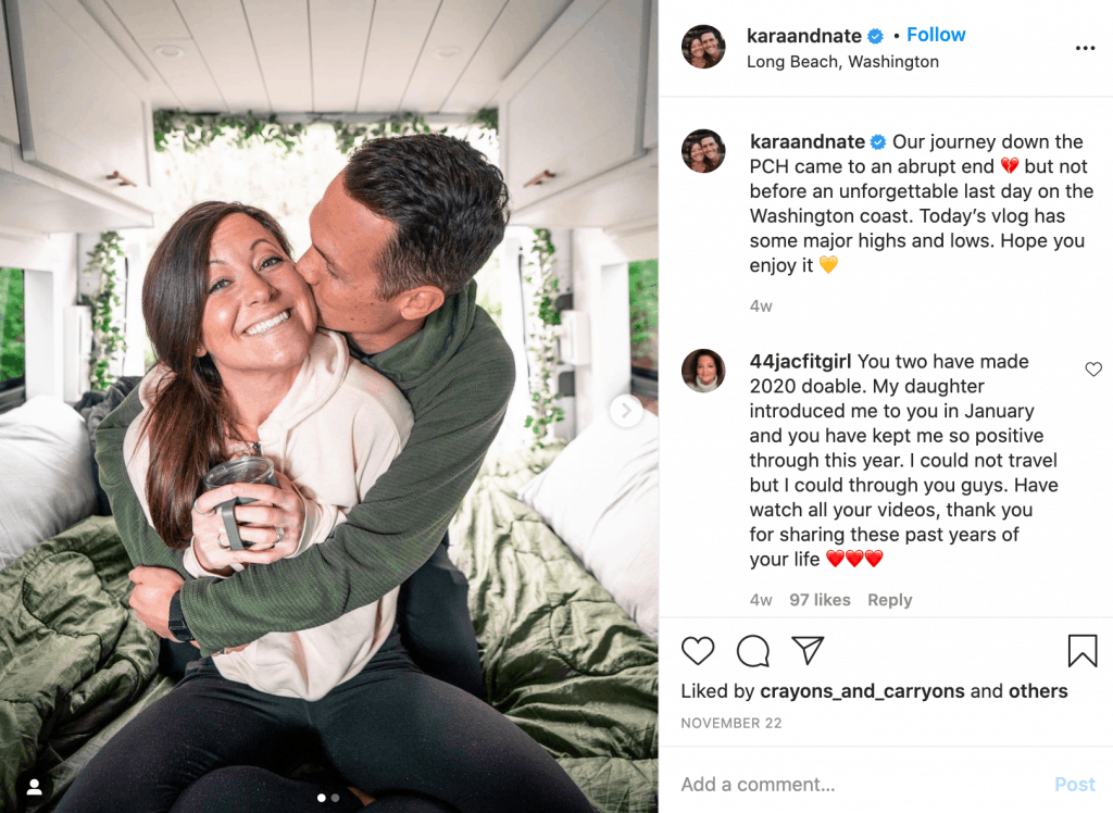 Travel influencers Kara and Nate who have changed their content in 2020.