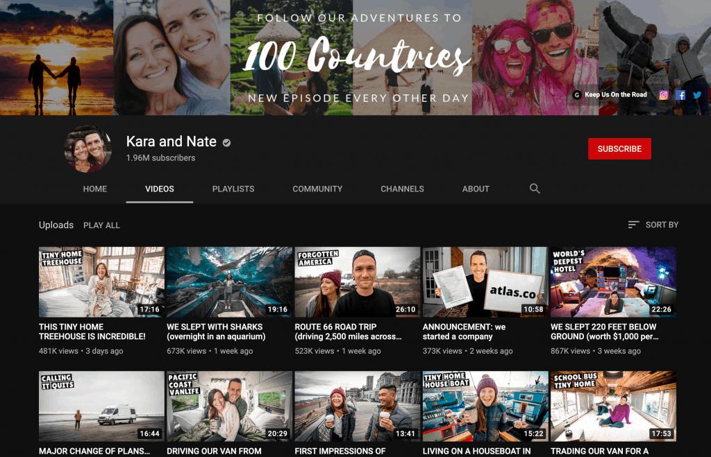 A screenshot of YouTuber's Kara and Nate's videos.