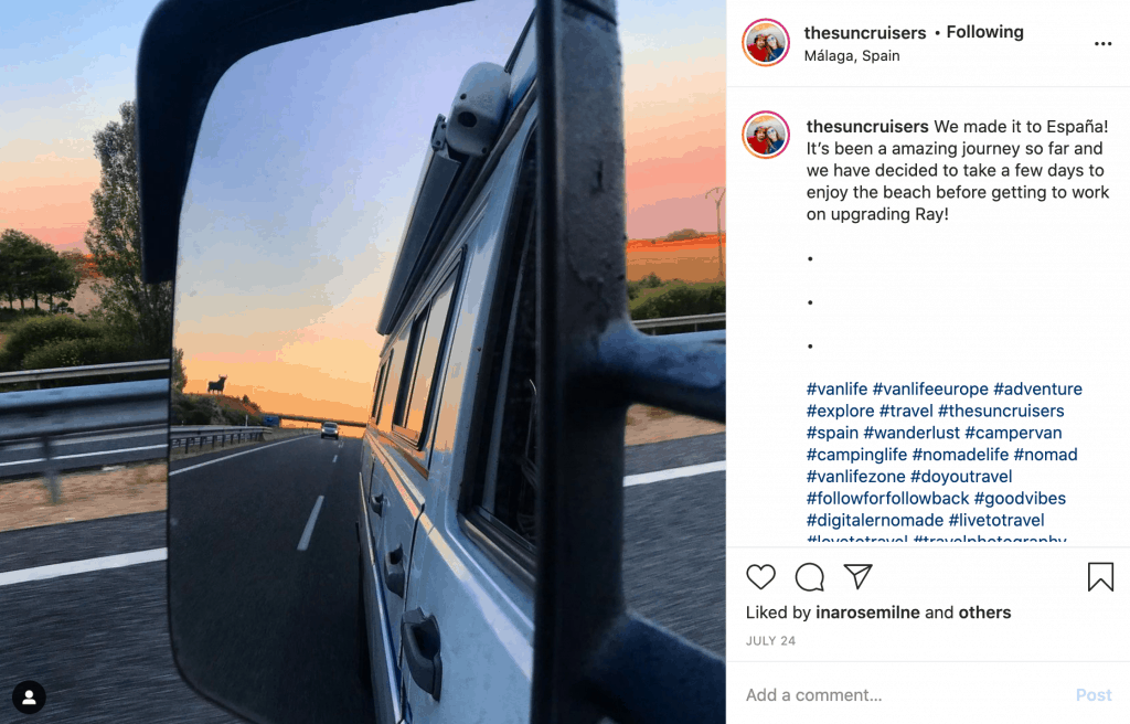 A screenshot from Instagram of the sun cruisers who have changed their content in 2020.