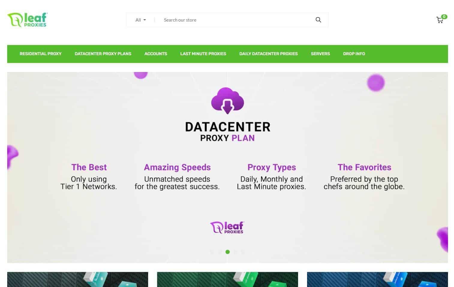 A screenshot of Leaf Proxies' homepage