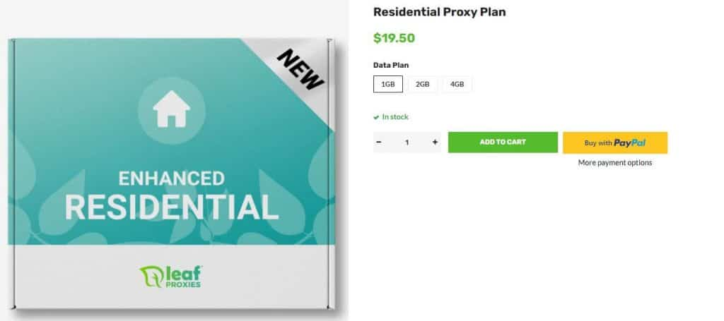 A screenshot of Leaf Proxies residential pricing plans