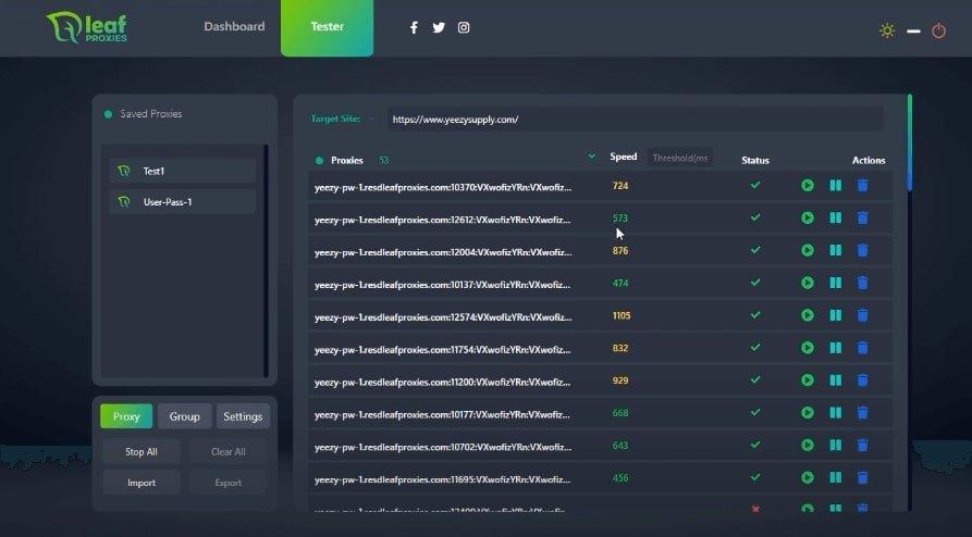 A screenshot of Leaf Proxies' tester