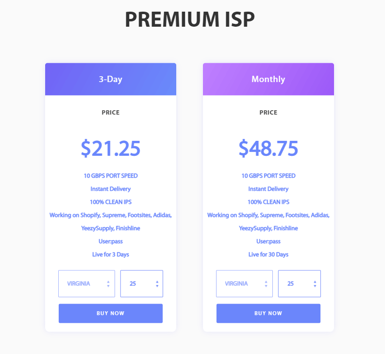 A screenshot showing Zoom Proxies premium isp tariff plans