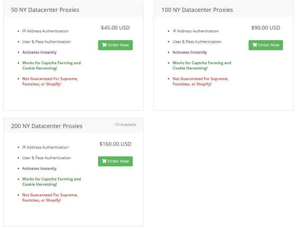 A screenshot of Iced Out Proxies' weekly datacenter proxies prices