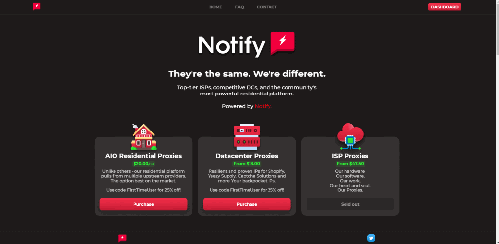 A screenshot showing Notify Proxies homepage