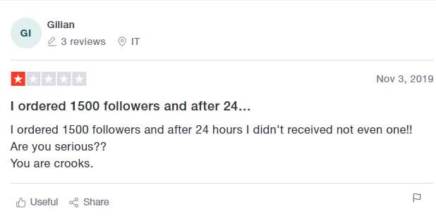 A screenshot of an Instapromote review taken from trustpilot.com.