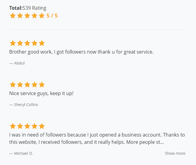 A screenshot of reviews found on instafollowers official webpage